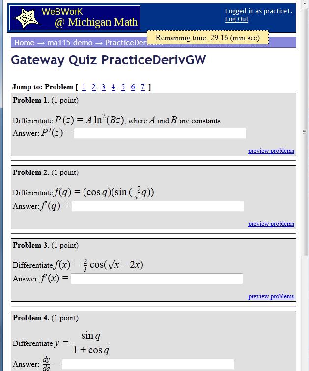 Webwork, screenshot, moodle