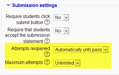 Moodle, settings, assignment, resubmissions, 2.5
