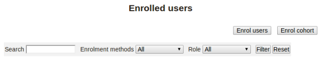 Moodle, Search, enroll edusers, 2.5