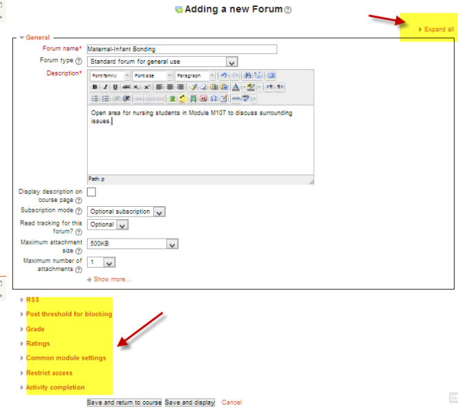 Moodle, shorter forms, 2.5
