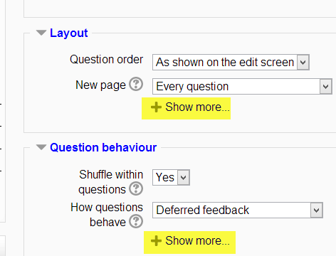show more, show less, moodle, 2.5