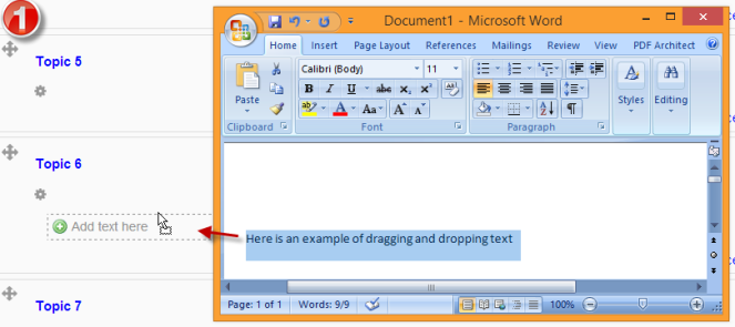 drag and drop, text, word doc,  moodle course, 2.5