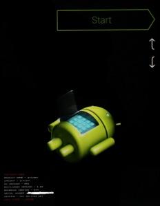 Bootloader screen for andriod, nexus 2012