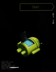 Bootloader screen for andriod, nexus 2012